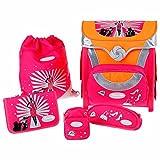 Sammies by Samsonite OPTILIGHT Schulranzen-Set 5tlg. Modell: 'Fashion Show' Farbe: Pink / Neon-Orange / Silber / Schwarz und Weiss mit Model als Motiv