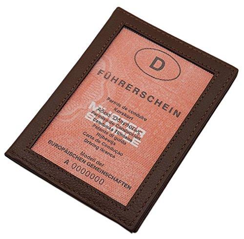Cuero Tarjetero para documento de Identidad en Cuero de beccero o Cuero de búfalo MJ-Design-Germany (Beccero Marrón)
