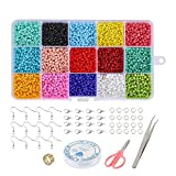 Jodimitty 9500 mini perline di vetro, 3 mm, 15 colori, rotonde, multicolore, con scatola d...