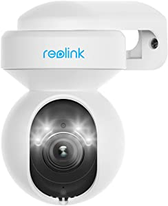 Reolink 5MP HD PTZ Wireless Outdoor Security Camera with Motion Spotlights, 2.4/5GHz WiFi Home Security Camera, Color Night Vision, 3X Optical Zoom, Human/Vehicle Alerts, No Auto Tracking - E1 Outdoor