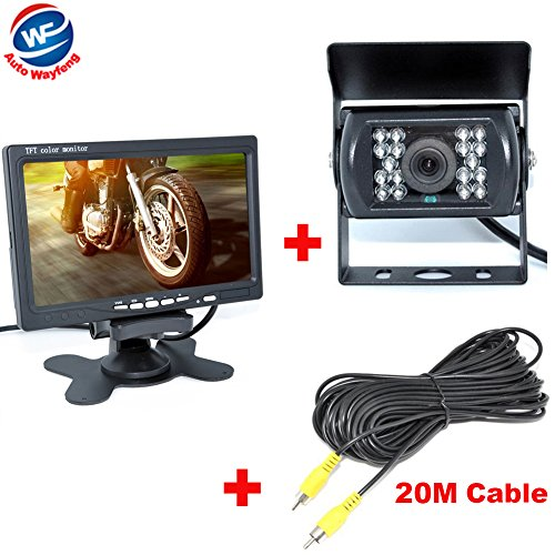 『Auto Wayfeng® 7インチモニター+ バックカメラ12V/24V兼用 バックカメラセット+一体型20Mケーブル トラック、バス、重機等対応』のトップ画像