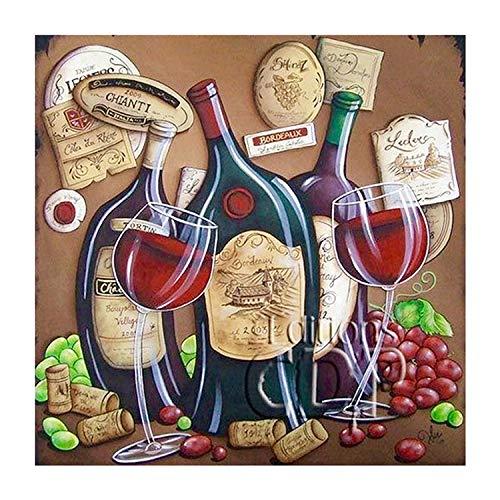 Diy 5D Diamond Painting, Copa de vino, vino tinto Diamantes de ImitacióN Completo Bordado Punto cruz kits Niños Adultos Craft DecoracióN Del Hogar Regalo(40X50cm)