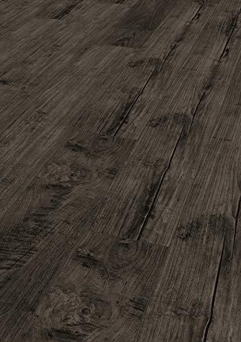 KRONOTEX Laminat Exquisit Nostalgie Teak Graphit Landhausdiele 1-Stab mit V-Fuge I 8 Dielen im Paket = 2,13 m² im Paket I 1.000.000 qm Parkettboden, Laminatboden, Vinylboden, Designboden - sofort ab Lager lieferbar I