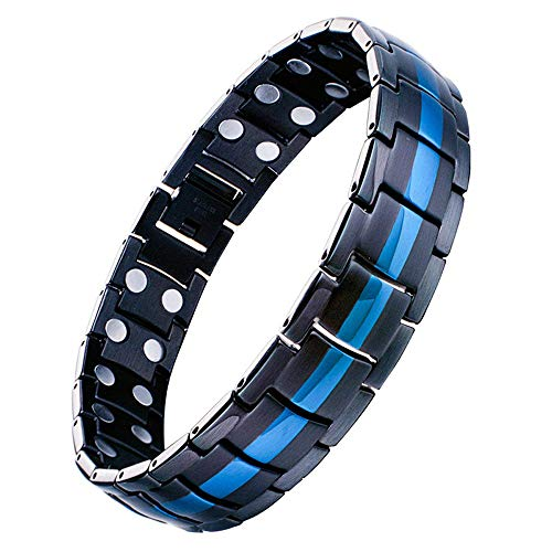 Jeracol Mens Magnetic Therapy Bracelet Double Strong Magnet Blue&Black Health Link for Arthritis Pain Relief with Remove Tool (Magnetic Therapy Bracelet)