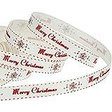 65 Piedi Nastro di Natale in Gros-Grain Nastro di Buon Natale Nastro per Confezioni per Regali di Natale Fai da Te, 10 mm Largo