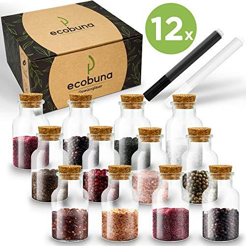 ECOBUNA ® Gewürzgläser - [12x] 150ml Gewürzdosen aus Glas mit Korkendeckel - inklusive Glasmarker in weiß & schwarz - spülmaschinengeeignet (12)