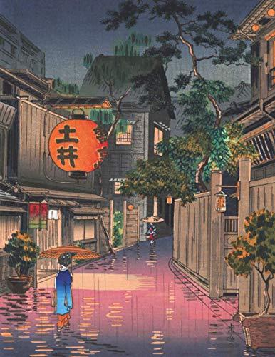 Kanji Notizbuch: Genkouyoushi buch mit Rasterlayout, Großformat für die Hiragana Schreibpraxis - Traditionelle Japanische Kunstserie (Tsuchiya Koitsu)