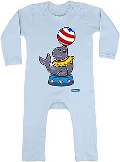 HARIZ Baby Strampler Seelöwe Zirkus Tiere Kindergarten Plus Geschenkkarten Himmel Hell Blau 12-18 Monate