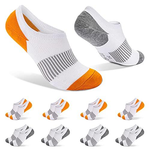 FALARY Fantasmini Calzini Uomo Donna Corti Calze Corte Pacco da 8 Taglia 39-42 Arancione Bianco Sneaker Calze Cotone Sportive Calzini