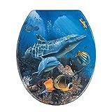WENKO Tapa de WC Sea Life - antibacteriano, sujeción de acero inox, Duroplast, 37.5 x 45 cm, Multicolor