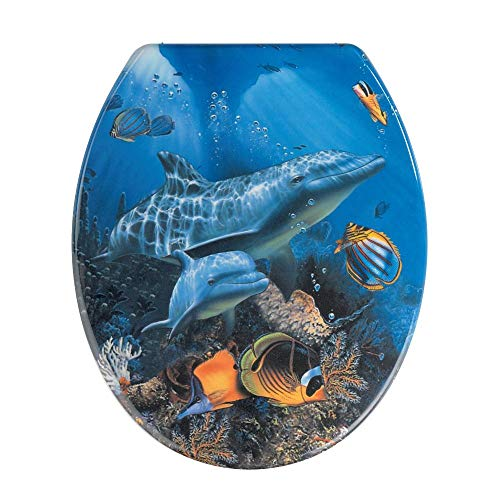 WENKO WC-Sitz Sea Life - Antibakterieller Toilettensitz, rostfreie Edelstahlbefestigung, Duroplast, 37.5 x 45 cm, Mehrfarbig