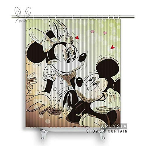 ZHWL6688 Mickey Mouse Love Badezimmer Duschvorhang Cartoon Art Environmental 2003