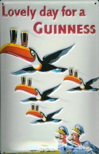 Buddel-Bini Versand Blechschild Nostalgieschild Guinness Lovely Day Toucan Piloten Vögel Schild Bierwerbung Tukan