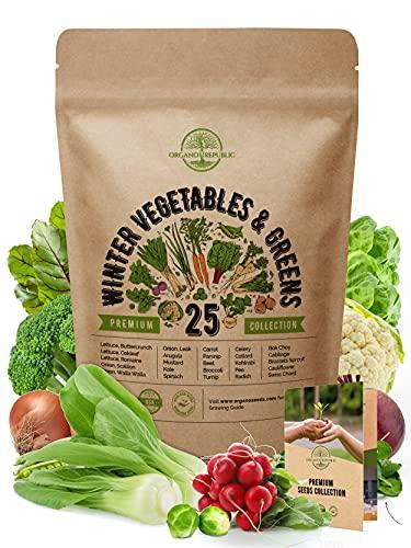 25 Winter Vegetable Garden Seeds Variety Pack for Planting Outdoors & Indoor Home Gardening 6500+...