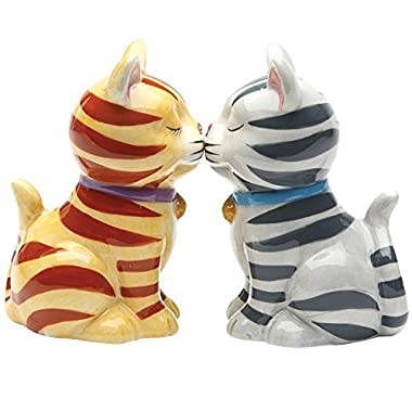 Striped Kissing Kittens Magnetized Tabby Cats Salt And Pepper Shaker Set
