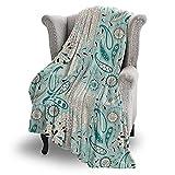 Couverture plaid de qualité supérieure avec motif cachemire - Douce et chaude - Très douillette et en peluche - 152 x 127 cm - Couverture polaire en flanelle pour canapé/canapé.