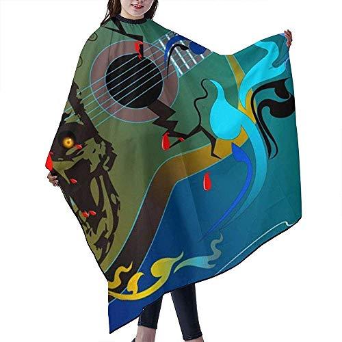 55 X 66 Inch Professionele Haar Salon Kapsel Schort met Telescopische Snap Sluiting voor Haar Snijden,De stem van de schedel Gitaar