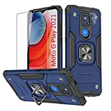 LOZOP Moto G Play Case, Motorola G Play Case with Screen + Camera Lens Protector, Military-Grade Shockproof Protective Phone Case for Moto G Play 2021 [360 Degree Rotation Ring Kickstand]-Blue