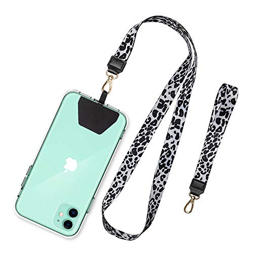 SHANSHUI Phone Lanyard, Neck Strap and Wrist Tether Key Chain Holder Universal Phone Case Anchor for Protection Compatible with Phone, Samsung Galaxy and All Smartphones - White Cheetah