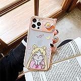 Cute Japan Anime Lens Protection Custodia morbida per telefono Sailor Moon per Iphone 11 12 Pro Max X XS XR 7 8 Plus SE2 Cover rosa 3D di lusso per iPhone 11 1