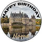 AK Giftshop Decoración para tartas de castillo personalizable para 1 cumpleaños, 20 cm, cualquier edad y nombre
