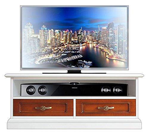 Arteferretto Mueble TV Bicolor, Mueble en Madera Acabado Blanco y Cerezo, Mueble TV de salón: Amazon.es: Hogar
