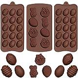 Yiran 3 PiezasMolde de Chocolates para Huevos Pascua de Silicona Chocolates DIY Moldes de Huevo Repostería para Niños Creativos,Forma de Cesta de Conejo, Pastel, Caramelo, Juego de Moldes para Hornear