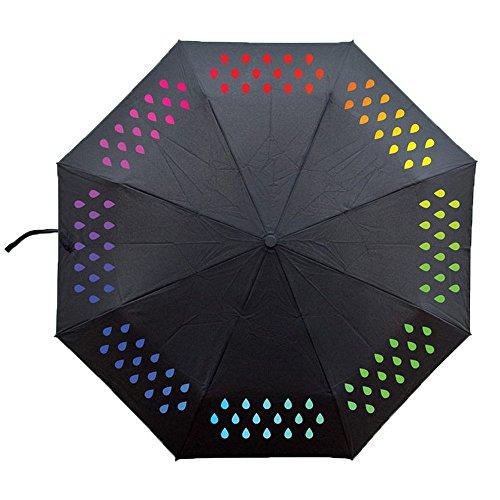 Ai-life Farbwechsel Regenschirm, die Farbe wechseln bei Nässe Windfest, Kompakte Design, 8 verstärkten Rippen, Outdoor Regenschirm Taschenschirm Schirm Farbverlauf Falten Reise Umbrella