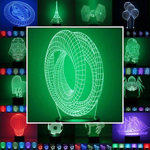 3D Lampe 3D Leuchte 3D LED Stimmungslicht. 7 Farben - Auswahl aus 81 verschiedenen Motiven,hier Endlosband ca.20x11cm inkl.Sockel - 3D Illusion Dekolicht mit USB Anschluß und 220V USB Netzteil