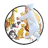 N\O Animal Paradise Happy Atmosphere Style Alfombra redonda para niños y niños, antideslizante, gran alfombra para gatear para sala de estar, dormitorio, sala de juegos (diámetro 91,9 cm)