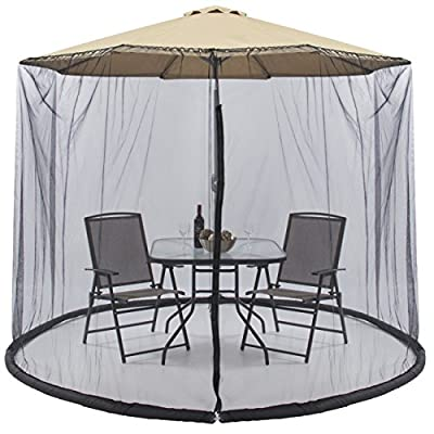 Best Choice Products 9ft Patio Umbrella Bug Screen w/Zipper Door, Polyester Netting - Black