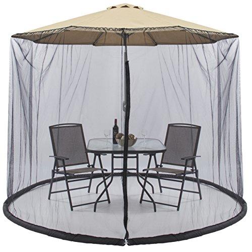Parkland Outdoor Garden Umbrella Table Screen Parasol Mosquito Net Cover Bug Netting Cover, Parasol Converter Cover Turn Your Parasol into a Gazebo! (9 ft)