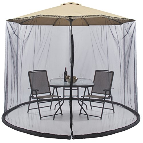 Best Choice Products Outdoor 9-Foot Patio Umbrella Bug Screen w/Zipper Door and Polyester Netting, Black