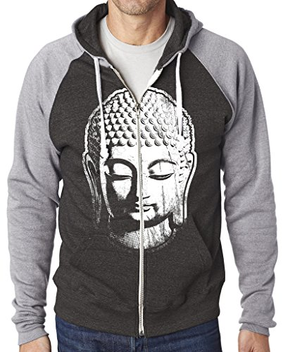 Mens Big Buddha Head Zip Hoodie, 2XL Black Triblend/Gray