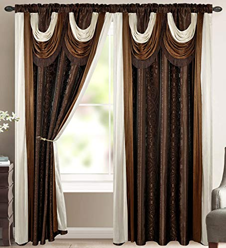Elena Luxury Jacquard Curtain Panel with Attached Waterfall Valance & Scarf 54 by 84-in Light Brown