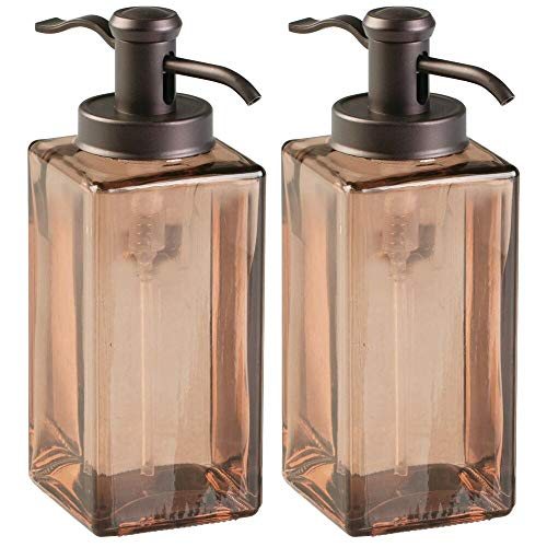 mDesign Decorative Square Glass Refillable Liquid Soap Dispenser Pump Bottle for Bathroom Vanity Countertop, Kitchen Sink - Holds Hand/Dish Soap, Hand Sanitizer, Essential Oils - 2 Pack - Sand/Bronze