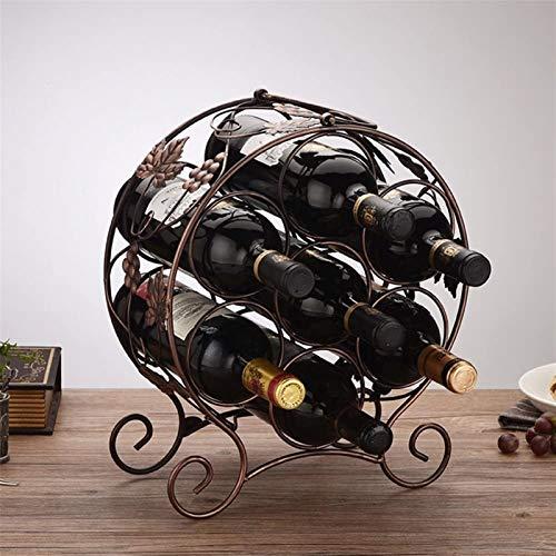 Botellero rústico apilable, Estante del vino Hierro forjado Bronce / marrón oscuro escritorio robustos Base portátil Steady soldadura duradero y hermoso 6 Opcional Opcional 7 botellas de vino Decoraci