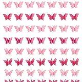 7pcs Guirnalda Papel Decorativa Mariposas Rosa 3D Colgante Pancarta Romántica Banderín Decoración Adorno para Boda Fiestas de Cumpleaños Hogar Bautizo Navidad