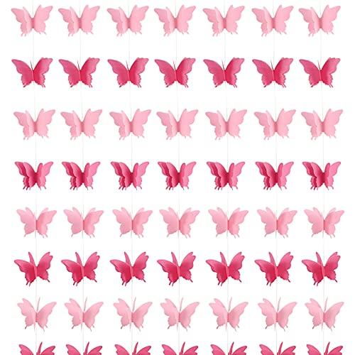 7 Pezzi 2 Metri Ghirlande Farfalla Rosa 3D Festoni Colorato per Festa di Compleanno Matrimonio Laurea Battesimo Carnevale Natale (rosa)