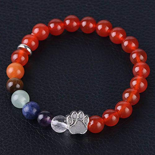 Stone Bracelet,Vintage Gothic Unisex 7 Chakra Natural Beads Adjustable Bangle Silver-Color Bear Paw Crystal With Red Agate Stone Beaded Bracelets For Women Birthday Party Men Friend Gift
