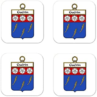 Guerin Family Crest Square Coasters Coat of Arms Coasters - Set of 4
