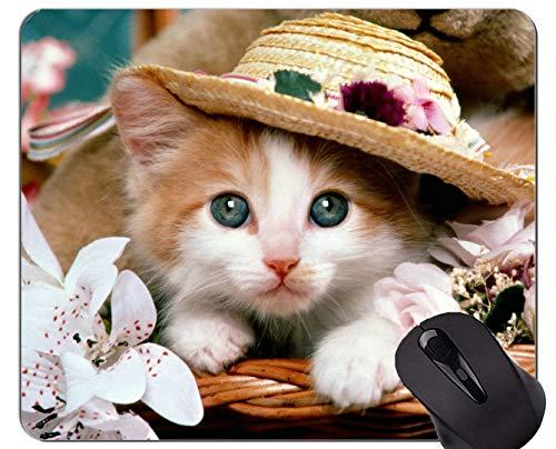 Mauspad mit genähtem Rand, Kätzchen-Teddybär Tierkatze Blume Rutschfeste Gummibasis Mousepad