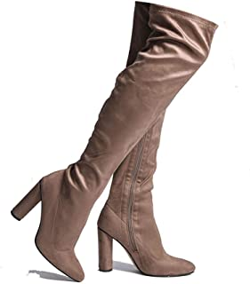 Women's Over The Knee Boots Pull On Knee High Block Heel Shoes MA01