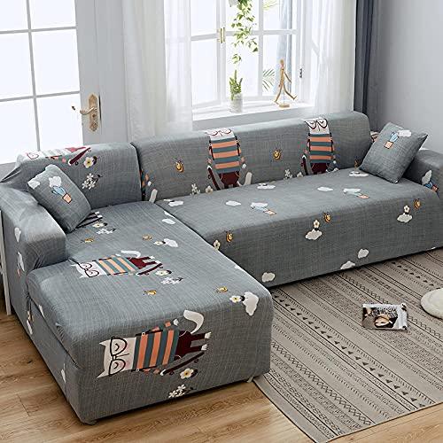 Funda de Sofá3 Plazas,Jacquard Poliéster Funda Sofa Elasticas Suaves Resistentes Sofa Antideslizante, Cubierta para Sofa Protector-Gato Gris de Anteojos