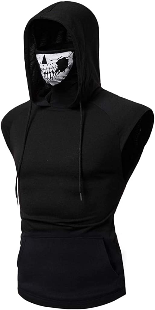 Gergeos Mens Mask Skull Print Bodybuilding Gym Tank Tops Workout Fitness Casual Shirt Vest with Hoodie