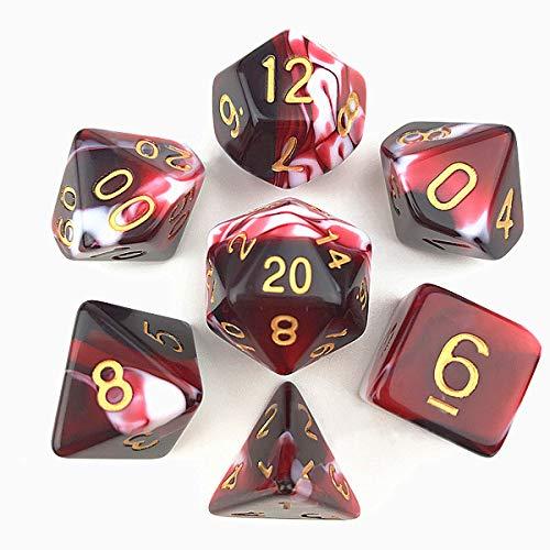 FLASHOWL Set di Dadi Rossi Sanguinanti Dadi D&D per Dungeon e Draghi Poliedrici Rpg, MTG, DND Set di Dadi da Gioco di 7 Pezzi D20, D12, D10, D8, D6, D4 Dadi Doppi Colori (Rosso e Bianco)