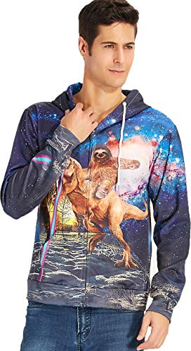 Men Zipper Jackets 3D Galaxy Hoodie Full Zip Graphic Sweatshirts Sloth and Dinosaur Prints Pullover Casual Drawstring Sports Wear Novelty Outfits Clothes with Pockets XX-Large
