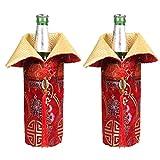 OOCC 2 Stück chinesische Brokat Kleider Weinflaschenhülle China-Kleid Cheongsam Weintüten Champagnertüten für Party Weihnachtsdekoration Hotel Bar Küche Tischdekoration Medium rot