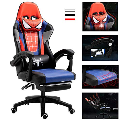 \t Video Racing Gaming Chair, Spiderman Computer Chair, Home, Lift Office Chair, Competitive Chair, Game Chair, High Swivel Swivel Chair with Foot Foot Support Red