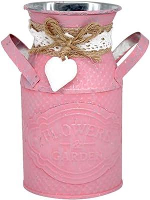 Garneck – Soporte para Flores rústico Shabby Chic Metal Vintage Jarra para jardín de casa estantería de Libros decoración (Rosa), Hierro, Rosa, 13 × 8 cm
